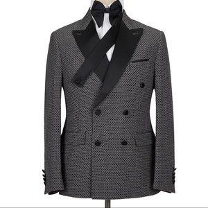 Men's 2 Piece Slim Fit black double breasted Suit